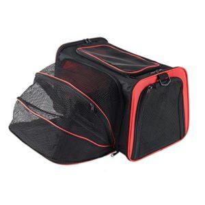 Petcomer Sac Extensible de Transport pour Chiens Chats Animal de Compagnie Transporteur Pliable Confortable Solide pour Voyage (L, Rouge)