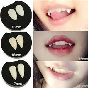 Vampire Teeth F Teeth Fête d'Halloween Jeu de rôle Accessoires de prothèse Décoration Accessoires de prothèse d'horreur et outil d'installation de pilule dentaire (dentition liquide gratuite),19mm