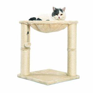 AmazonBasics Arbre à chat en forme de tour avec abri, lit hamac et griffoir – 41 x 51 x 41 cm, Beige