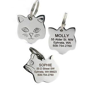 GoTags Les étiquettes d'identification de Chat en Acier Inoxydable Disponibles en Formes de Souris et de Chat comprennent jusqu'à 4 Lignes de Texte personnalisé gravé Petit Visage Kitty