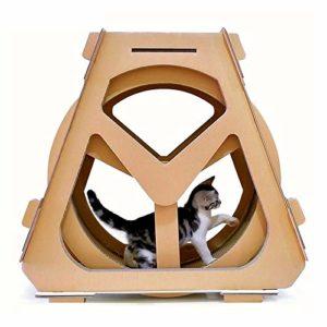 Griffoirs pour Chats,Carton à Gratter pour Chat Eau Grande Roue en Forme de Chat Grimpeur Papier ondulé Cat Scratch Board Broyage Claw Jouet, Taille: 73x36x70cm, Salon à gratter en Carton ondulé