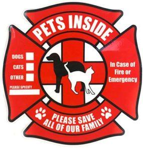 Lot de 4–Animaux STICKER à l'intérieur–Rescue statique pour fenêtre W/Bonus Pet Carte de portefeuille