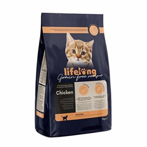 Marque Amazon Lifelong Aliment pour chatons sans céréale, élaboré avec de la viande fraîche de poulet – 3kg