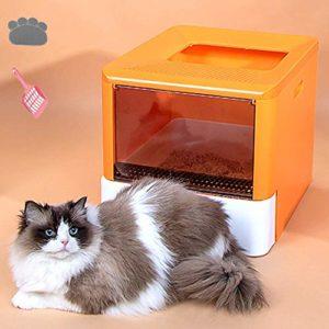 Pet Litterbox, Cat Litière Cat bac à litière, Maison Double-Porte Chat, et l'entrée avant la sortie Haut, Réduit Suivi et litière odeur Grande litière boîte avec ergonomique litière Pelle 47 37 37cm L