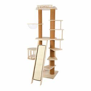 S&L Arbre à Chat Géant, Tour de Chat Haut 206 cm, avec Balcon, Panier pour Chat en Acrylique Transparent, Escaliers, Cage à Chat et Sisal Naturel Griffoir Chats
