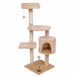 TAO Arbres à Chat 45,7 pouces Arbre à chat avec griffoir Condo Sisal-couvert avec Dangling Toy Balls, Tour Cat Kitten Furniture Play House
