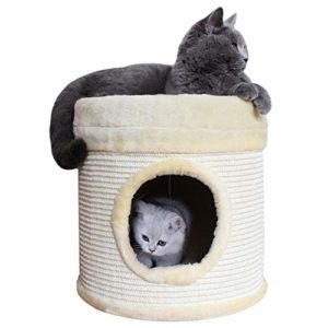 TAO Arbres à Chat Ronde en peluche Kittens Maison, 13,8 pouces Pet Cat Condos Single Barrel Hole, Cat Lit Scratcher