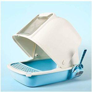 YF-SURINA Toilette pour animaux de compagnie Boîte à litière pour chat déodorant entièrement fermée, grande toilette pour chat anti-éclaboussures lavable 4 couleurs hygiénique sans odeur