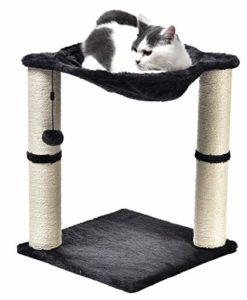 AmazonBasics Arbre à chat en forme de tour avec abri, lit hamac et griffoir – 41 x 51 x 41 cm, Gris