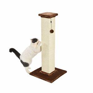 AmazonBasics Griffoir pour chat de qualité supérieure – Taille L 41 x 89 x 41 cm, moquette marron