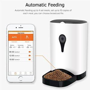 Automatic Food Dispenser App Control 1MP Camera Speaker 4.3L Barrel Dry Food