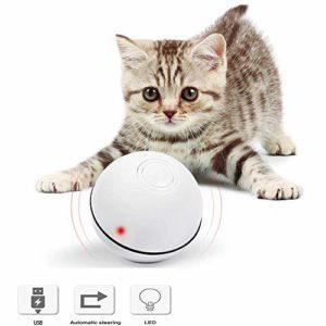 Balle de jouets pour chat, jouet pour chat, balle de roulement automatique interactive, boule de mouvement rechargeable USB, avec lumière LED et fonction minuteur, augmente le QI et la stimulation