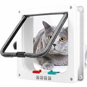 Chatière à 4 positions avec Tunnel Chatière Grande pour Chat et Chien Cat Mate Résistante et Facile à Installer Cache Découpe Blanc (M)
