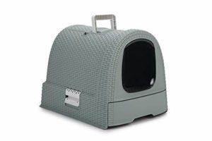 CURVER | Maison de toilette pour chat, Bleu Gris, Pet rattan, 51,5×38,5×40 cm
