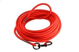 Easycare® Longe en 8mm rondes, orange fluo, avec la dragonne (étanche & facile d'entretien par gaine PVC)