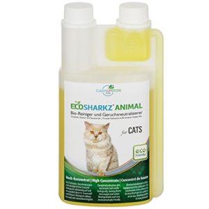 Ecosharkz Désodorisant pour chat – Dissolvant naturel d'urine de chat – Contre les odeurs de litière pour chat (1000 ml de concentré pour 50 litres de désodorisant d'urine prêt à l'emploi)
