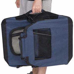 EUGAD 0315HT Cage de Transport en Oxford Sac de Transport Pliable pour Chien ou Chat,Bleu Classique 70x52x52cm