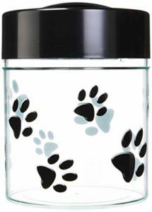 Pawvac 1,1kilogram Emballé sous vide récipient Stockage aliments pour animaux; Noir capuchon et corps clair/noir Paws