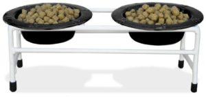 Platinum Pets Blanc moderne double Diner Cat Chiot/support avec deux bols 1tasse cerclé, Noir