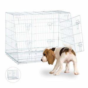 Relaxdays Cage de Transport Box Pliant Double Cloison 3 Portes Voiture Argenté pour Chiot Taille L