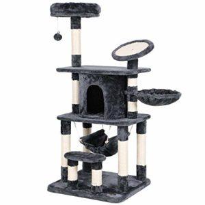 SONGMICS Arbre à chat multi niveaux panneau supérieur rond en sisal avec rebord tronc pour aiguiser les griffes niche luxueuse pour chats salle de jeux couleur grise PCT25G