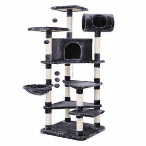 SONGMICS Arbre à chat tronc pour aiguiser les griffes grande dimension niche luxueuse pour chats salle de jeux multi niveaux couleur Gris PCT17G