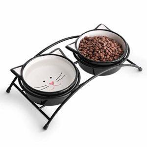 Y YHY Gamelles en céramique surélevée pour chat, nourriture ou eau pour chat, double plat pour chat avec support en métal, motif oreilles de chat mignon 12 g, 12 Ounces, noir
