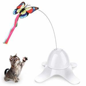 Aceshop Jouet interactif pour chat rotatif automatique avec papillon et chat rotatif à 360°