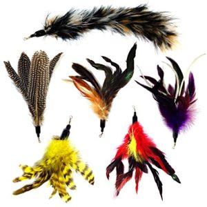 Animal Fit pour la vie 6pièces de remplacement de plumes et doux en fourrure pour Interactive et chat chaton jouet Baguettes
