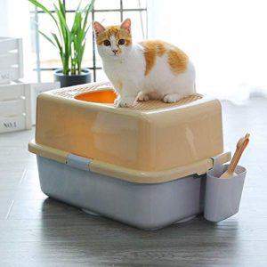 aycpg Top-Entry Cat bac à litière, Anti-Éclabousser Toilette for Chat, entièrement fermé, Sable Porous Fuites Conception, sans Litière Ceinture, avec Litière Scoop (Color : Gray Coffee)