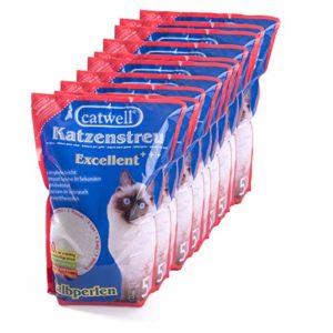 Catwell, 10 x Litière en Silicate pour Chats, Semi-Perles 100% biodégradables, neutralise Les odeurs, Convient aux Personnes allergiques
