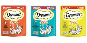 Dreamies Cat Treats Lot de 6 paquets de friandises au poulet, au fromage et au saumon 180 g