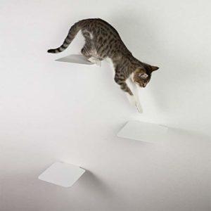 Escaliers pour chat – Marches avec coussinets en liège – Lot de 3 – Mur d'escalade individuel pour chats jusqu'à 10 kg – 18 x 18 cm par marche (Blanc avec liège)