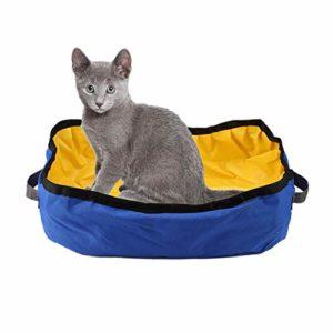 fegayu Boîte à litière de Voyage pour Chat, Doublure de Toilette pour Chat est Un Porte-litière pour Chat Portable étanche, pour Un bac à litière léger(Blue)