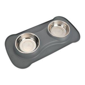 Gamelle pour chien – Antidérapant – Taille moyenne – Pour animal domestique – Double bol – Nourriture et eau