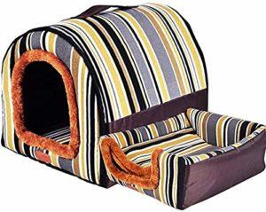 Gaojian 2 en 1 Dog House Cat, Cat Cave Souple Pliable Lit pour Chien Tente Nid avec Coussin Amovible Villa, Four Seasons Cozy Sac de Couchage pour Medium Extra Large Pet,G,60X48X43CM