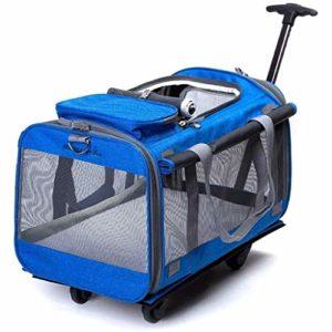 Hmvlw Pliable Pet Carrier Amovible Roues roulement Porteur Poussettes Sac, for Chats Chiens Lapins Kittens Chiots Voyage Randonnée Camping (Color : Blue)