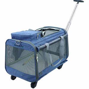 Hmvlw Pliable Pet Carrier Amovible Roues roulement Porteur Poussettes Sac, for Chats Chiens Lapins Kittens Chiots Voyage Randonnée Camping (Color : Denim Blue)