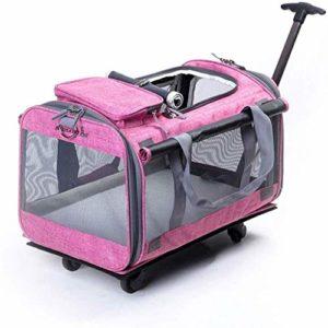 Hmvlw Pliable Pet Carrier Amovible Roues roulement Porteur Poussettes Sac, for Chats Chiens Lapins Kittens Chiots Voyage Randonnée Camping (Color : Pink)