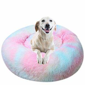 IEUUMLER Lit de Chat Sac de Couchage pour Animaux de Compagnie et Petits Chiens IE119 (Diameter:60cm, Tie-Dyed Colorful Pink)