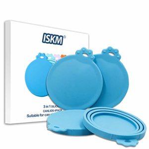 ISKM Lot de 2 couvercles pour boîtes de Nourriture pour Animaux en Silicone sans BPA et Homologation FDA 3 en 1 Coupe adaptée aux Chats et Chiens