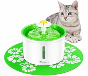isYoung 1.6L Fontaine à Eau Fontaine de Chat Boire à Fleur Électrique Animaux Vert Pet Water Fountain Drinking Bowl