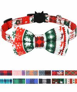 Joytale Noël Collier de Chat Réglable avec Cravate, Mignon Colliers de Sécurité pour Chaton Fille et Garçon,Noël