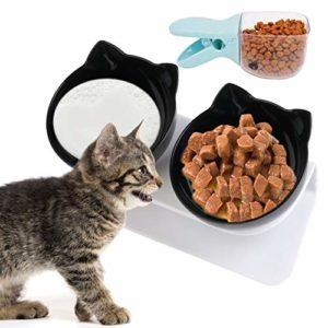 Legendog Gamelle pour chat,double pour chat Bol avec support Gamelle anti-débordement pour chat Gamelle pour chat réglable et antidérapante