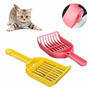 LFOEwpp7 Pelle à litière en plastique pour chat – Anti-adhésif – Pelle à litière pour animal domestique – Cuillère à nourriture – Fournitures d'outils de nettoyage Large couleur aléatoire