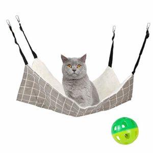 lit suspendu de hamac cage de chat,60 * 50cm tapis de lit suspendu réglable pour animaux de compagnie,hamac d'hiver en peluche doux pour chat,cochon d'Inde,lapin et autres,avec une balle de jouet