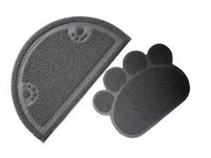 Litière pour chat Imprimé patte et tapis de sol en demi-cercle Designs Lot de 2