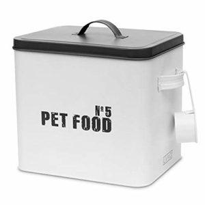 Livivo-Boîte métalliques émaillée pour stockage d'aliments pour animaux domestique, doseur, couvercle hermétique, idéale pour les biscuits, les graines pour oiseaux, banc et gris