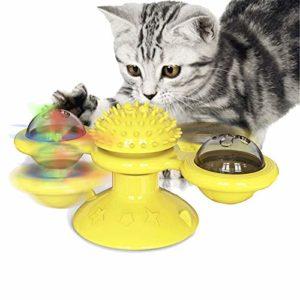 Moulin À Vent Cat Toy Turntable Teasing Interaction, Chat D'intérieur, avec Ventouse, Cat Scratching Brosse À Cheveux Jouet, avec Cataire Et Bell,Jaune