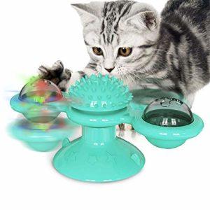 Moulin À Vent Cat Toy Turntable Teasing Interaction, Chat D'intérieur, avec Ventouse, Cat Scratching Brosse À Cheveux Jouet, avec Cataire Et Bell,Lake Blue